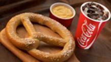 Large Pretzel and Coca-Cola