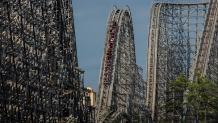 El Toro wooden roller coaster with train descending a drop