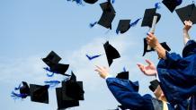 Seniors in graduation regalia