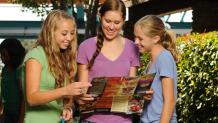 Teens with a park map