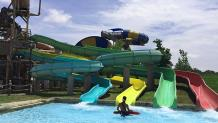 Hook's Lagoon four Tree House Slides that empty into one catch pool