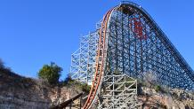Iron Rattler coaster hill at Six Flags Fiesta Texas