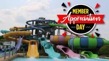 Hurricane Harbor slides with Member Appreciation Logo