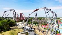 Aerial photo of Maxx Force, Giant Drop, Raging Bull, and Hurricane Harbor Waterpark