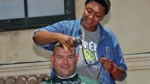 Participant in St. Baldrick's Foundation head-shaving fundraiser