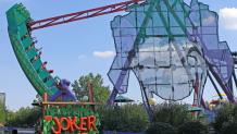 Photo of the Joker ride as is swings from one side to the other like a pendulum