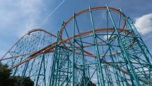 Looking up at the structure of the Titan roller coaster