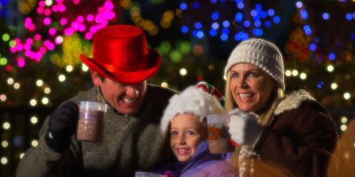 Family enjoying a seasonal drink.