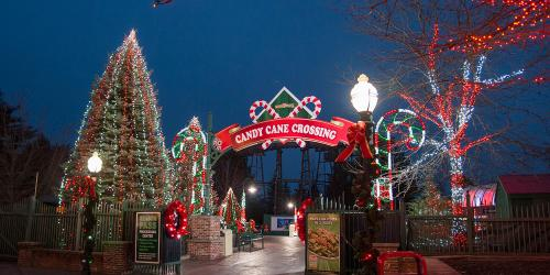 Candy Cane Crossing during Holiday in the Park at Six Flags New England