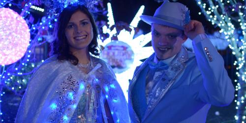 Princess Krystal and Jack Frost during Holiday in the Park at Six Flags New England