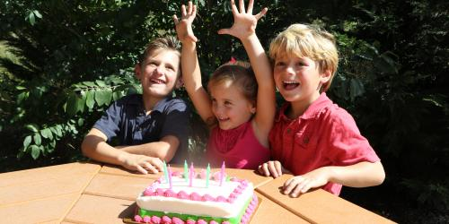 Kids sitting with birthday cake
