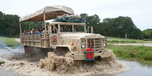 Safari truck driving through water