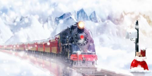 christmas train riding thru snowy mountains
