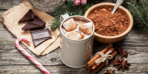 Hot chocolate with candy cane