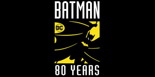 Rectangular pin with Batman and words Batman 80 as pin design