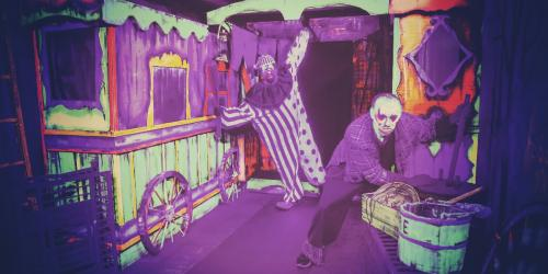 Clowns in a haunted maze as part of Fright Fest