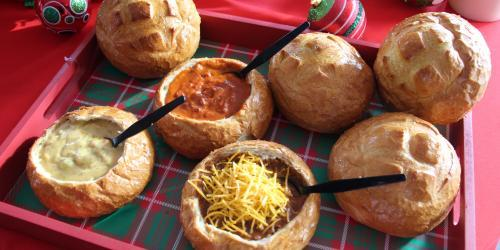 Warm bread bowls filled with soup