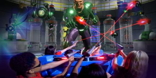 JUSTICE LEAGUE: Battle for Metropolis shooting stun blasters at LEX LUTHOR