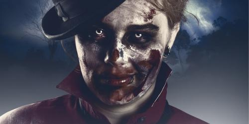 zombie starring at you with top hat and bloody face