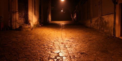 Cobblestone street at night