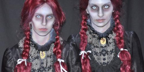 Twin scary girls with red pigtails who live at Nightmare Manor
