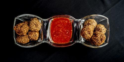 Fried Meatballs with marinara sauce