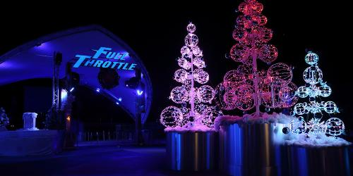 snowy nights in the full throttle plaza during holiday in the park