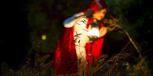 red riding hood with a lantern