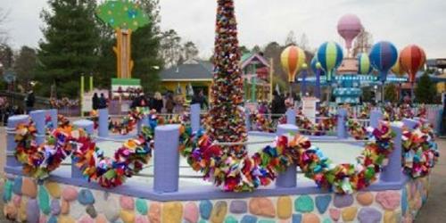 Festive tree in a fountain