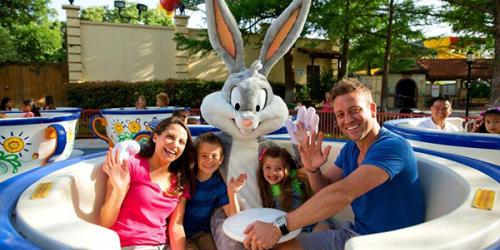 family and Bugs Bunny on tea cups ride