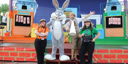 Bugs Bunny and his friends on Center Stage during Move Madness Gameshow at Six Flags New England