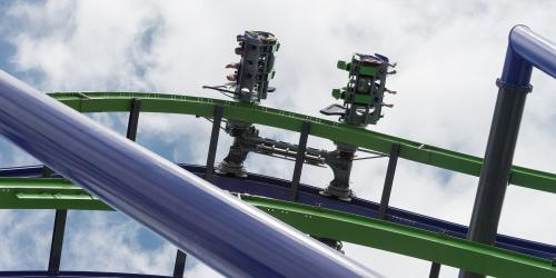 The unique vehicles of The Joker roller coaster