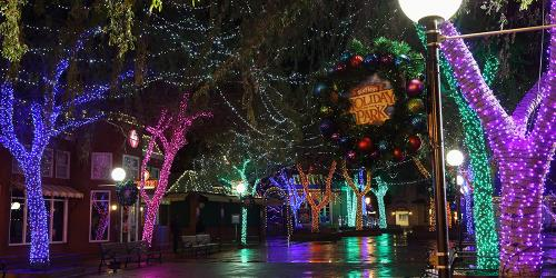 festive holiday lights in Holiday Square