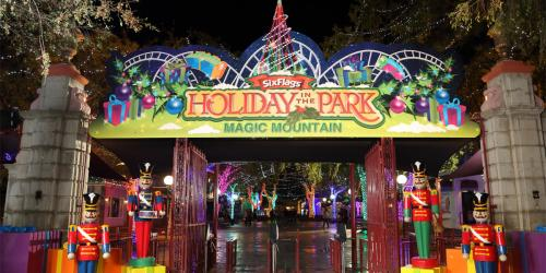 Holiday in the Park gate with gifts and decor