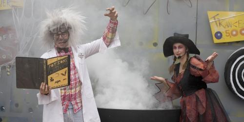 Professor Slithers and  witch with smoking cauldron
