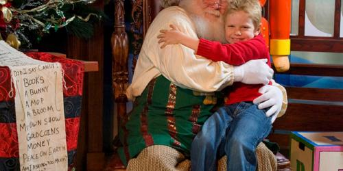 Santa and an excited child.