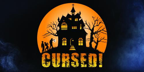 "Logo with silhouette of three people approaching a haunted house on a hill; the word ""cursed"" beneath"