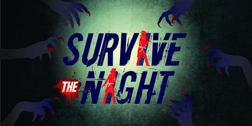 """Logo with the words """"Survive the Night,"""" two private investigators superimposed over the letters, and zombie hands reaching in toward the words"""