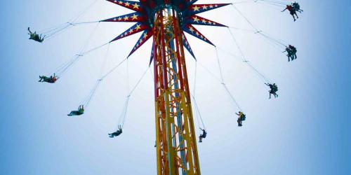 SkyScreamer swing ride view from the ground