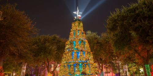 Christmas tree lit up at Holiday in the Park