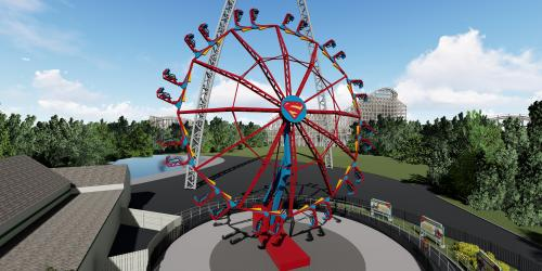 Supergirl rendering of wheel up in the air