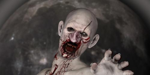 Bloody zombie eating brains