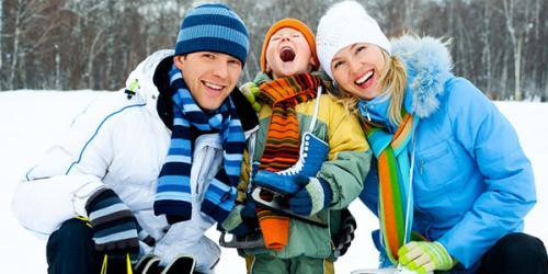 Family in winter wear.