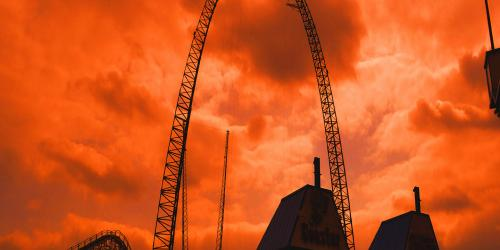Sky Coaster under a red sky