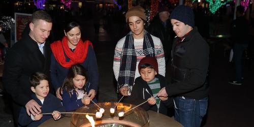 families roasting smores