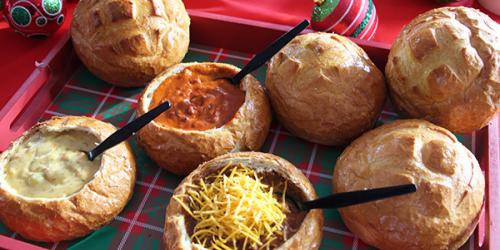 Bread bowls filled with soup