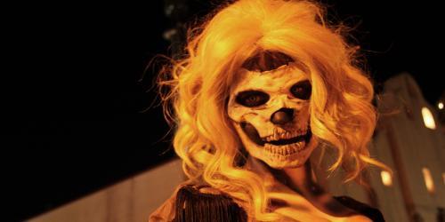 close-up of blonde zombie skeleton