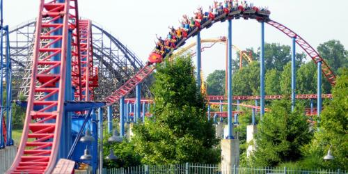 SUPERMAN: Ride of Steel grabbing airtime on its way into the station