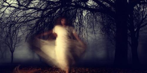 Child in dark woods