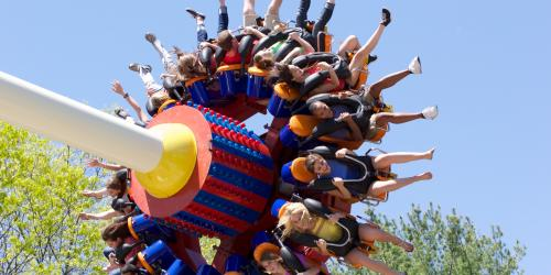 Kids riding Extreme Supernova at Six Flags Great Escape
